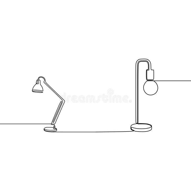 Bohlamp and standing modern lamp one line Lamp icon set. Outline set of lamp vector icons for web design isolated on white. Background watt power innovation stock illustration