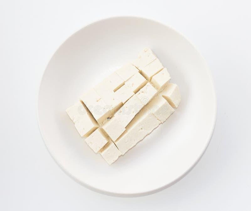 Bohnengallertetofu auf Draufsicht des Tellers lizenzfreies stockfoto