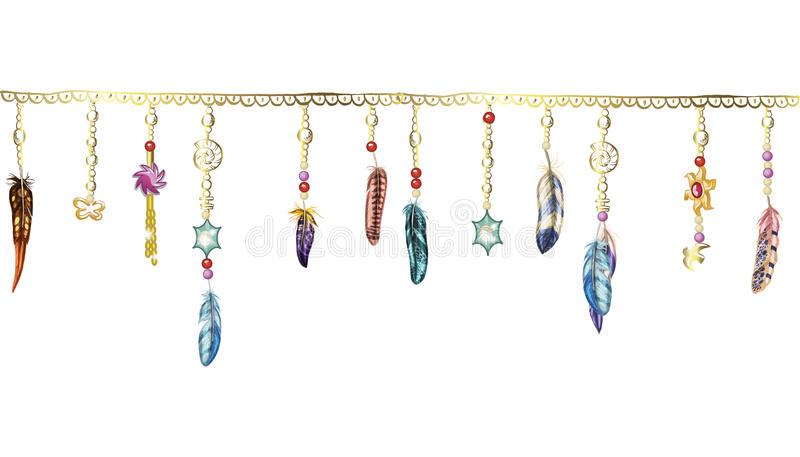 Boho元素 导航与羽毛、链子和珠宝的例证 在白色的装饰鸟羽毛 免版税库存照片