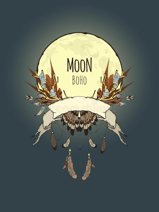 Boho月亮 向量例证