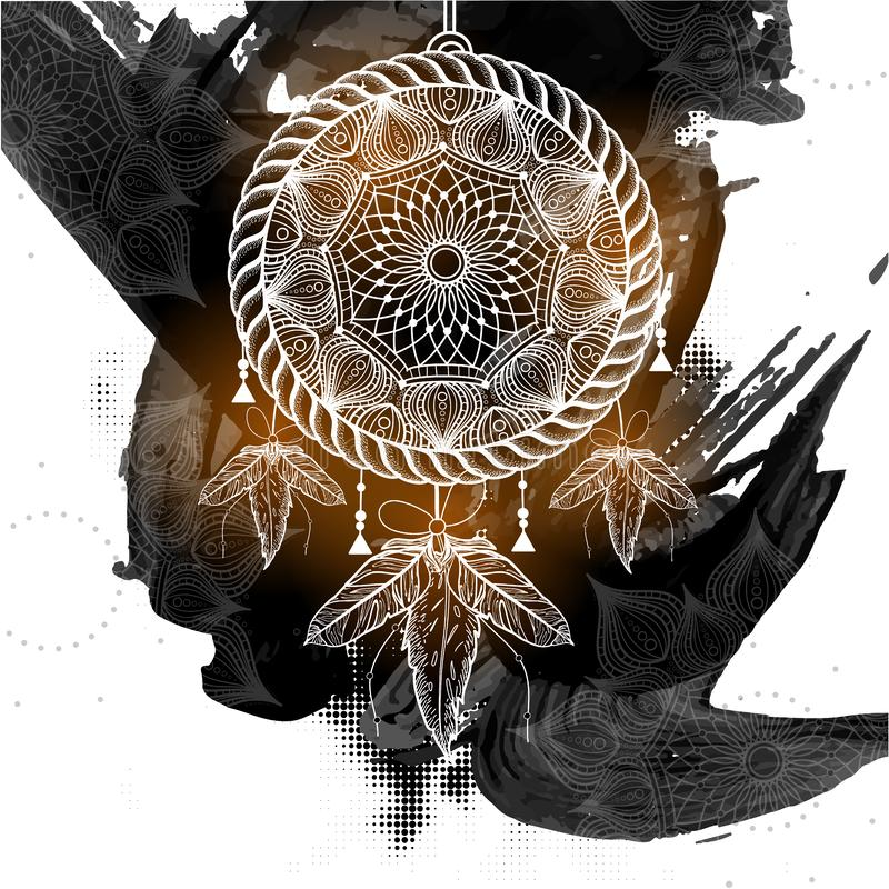 Boho样式有部族花卉样式的梦想俘获器 皇族释放例证