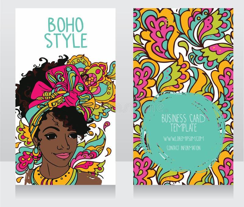 boho样式的卡片与美丽的非裔美国人的妇女 皇族释放例证