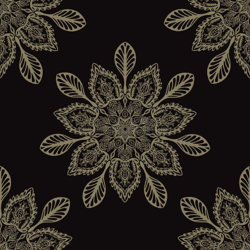 Boho花卉蔓藤花纹坛场无缝的传染媒介样式 向量例证