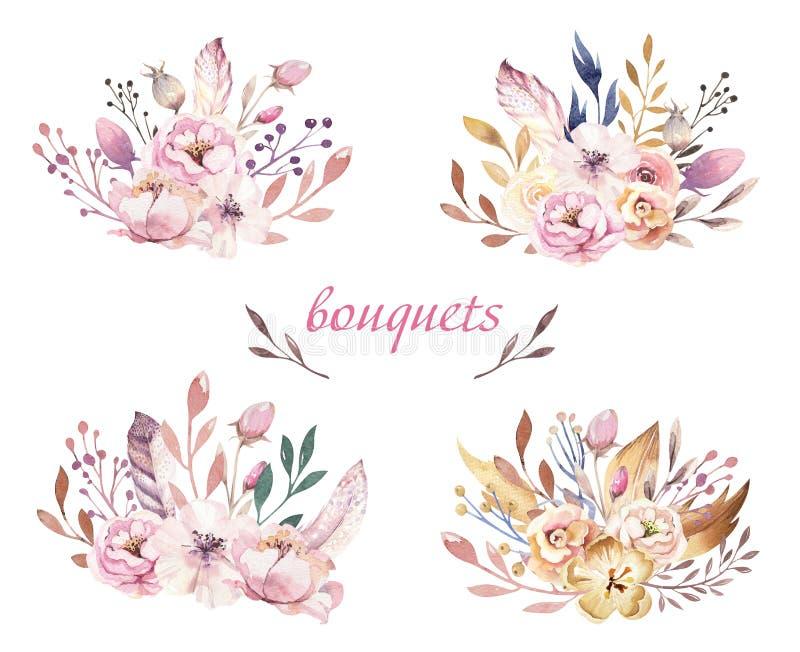 Boho花集合 与叶子和花,画的水彩的五颜六色的花卉收藏 春天或夏天花束设计 向量例证