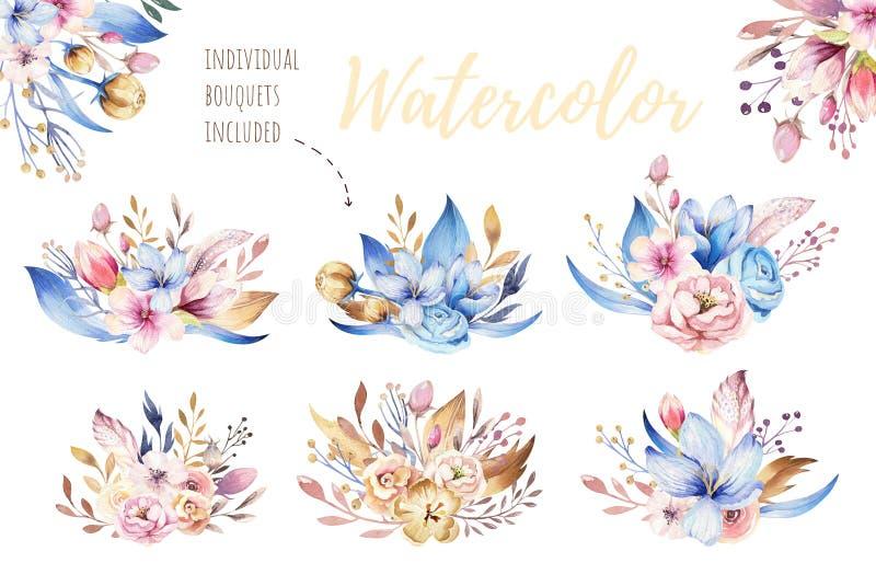 Boho花集合 与叶子和花,画的水彩的五颜六色的花卉收藏 春天或夏天花束设计 皇族释放例证