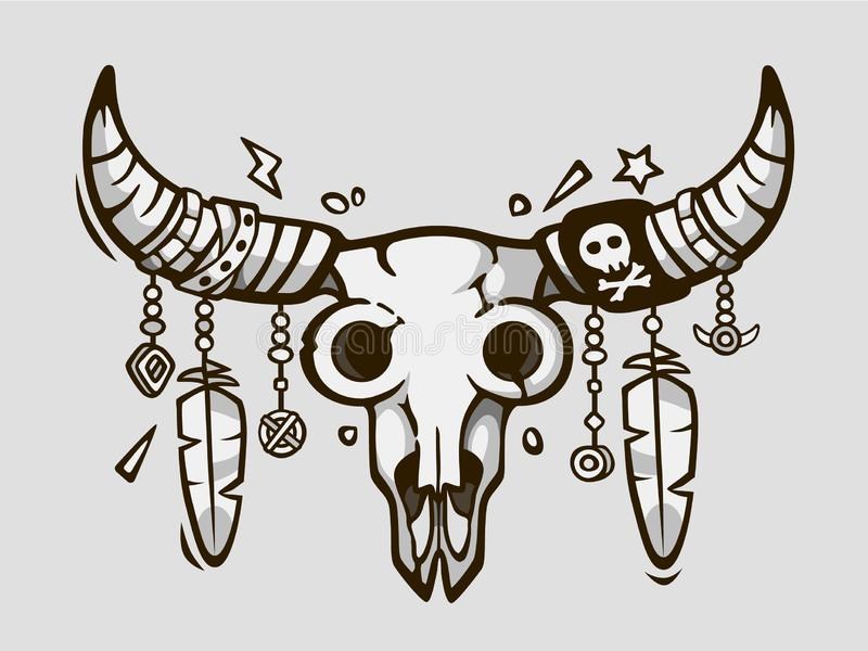 Boho κομψό Εθνικό ύφος δερματοστιξιών Αμερικανός ιθαγενής ή μεξικάνικο κρανίο ταύρων με τα φτερά στα κέρατα ελεύθερη απεικόνιση δικαιώματος