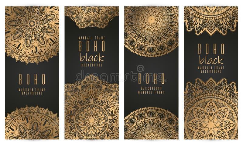 Набор карты мандалы вектора винтажный, цвет золота Восточный план дизайна o Титульный лист и задняя часть иллюстрация штока