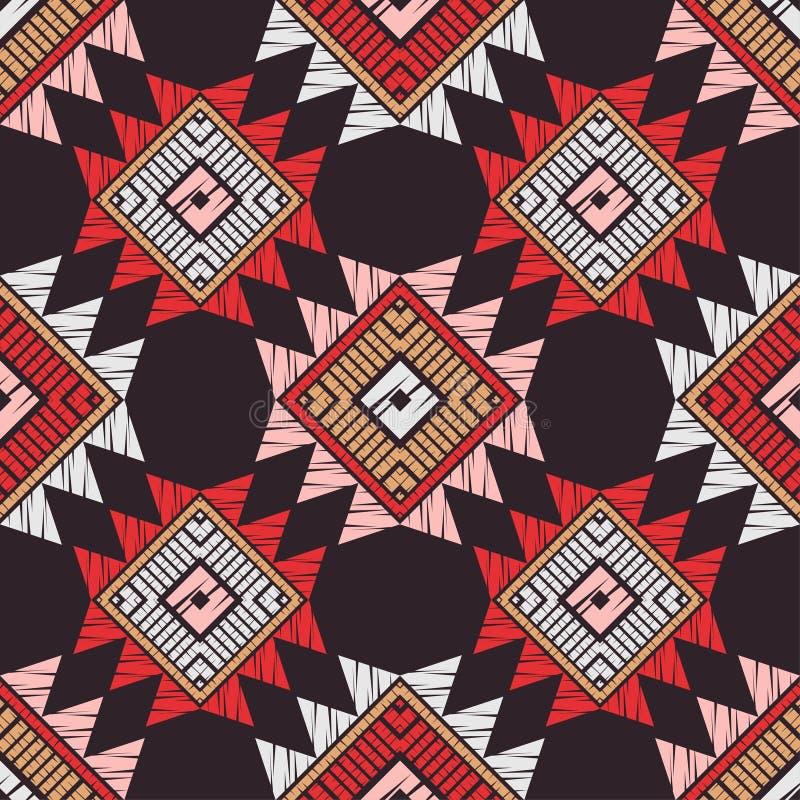 Картина этнического boho безшовная Вышивка на ткани Текстура заплатки Соткать Традиционный орнамент Племенная картина Фольклорный иллюстрация штока