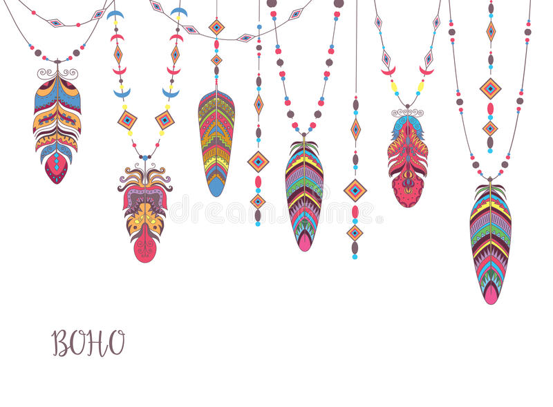 Boho Abstract Design with Bird Feather and Beads. Ethnic Tribal Decorative Background vector illustration