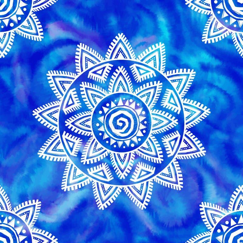 Boho-Art shibori weiße Stammes- Verzierung auf nahtlosem Muster des blauen Aquarellhintergrund-Vektors vektor abbildung