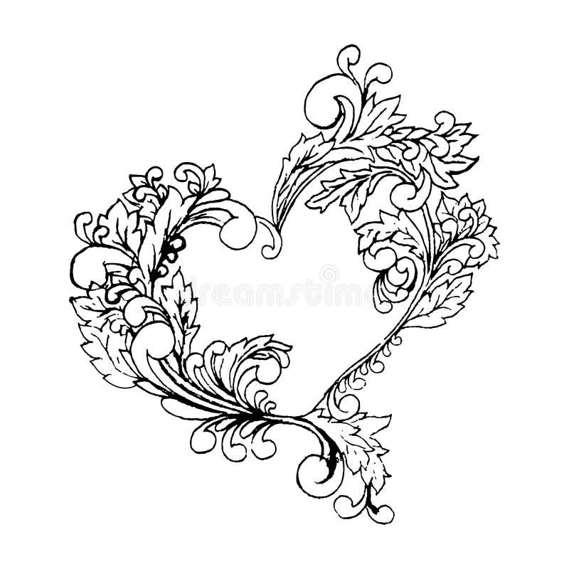 Boho-Artschwarzlinie ursprünglicher Herzrahmen der Kunst mit Raum Digital-Skizzenillustration, Valentinsgrußtageselement, stilisi vektor abbildung