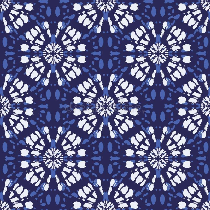 Boho błękita barwidła mandala Sunburst tła Monochromatyczny Indygowy Shibori Odzwierciedlający Wektorowy Bezszwowy wzór ilustracji