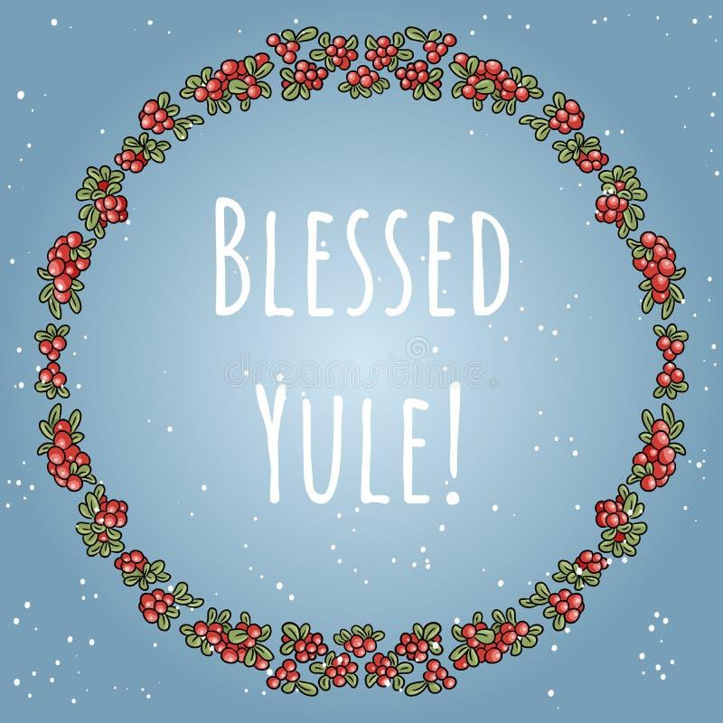 Boho benedetto di Yule che segna in una corona dell'ornamento variopinto delle bacche rosse royalty illustrazione gratis