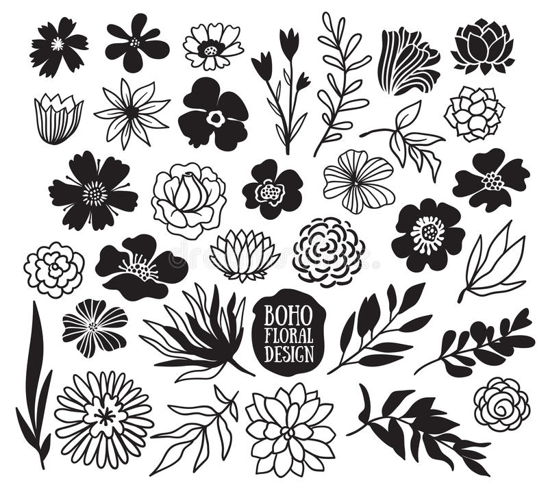 Boho black decorative plants and flowers collection. stock illustration
