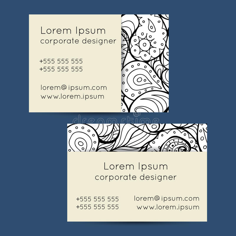 Boho Black And White Paisley Business Cards Templates Stock Vector ...