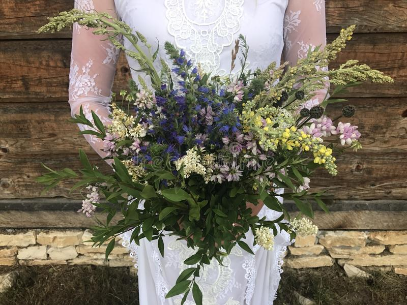 Boho bröllopbukett royaltyfri fotografi