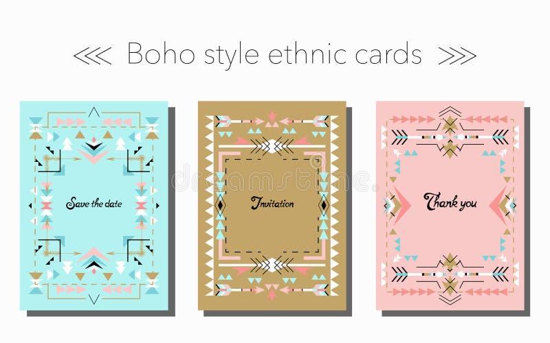 Boho cards stam- etnisk stil, och ramar ställer in också vektor för coreldrawillustration royaltyfri illustrationer