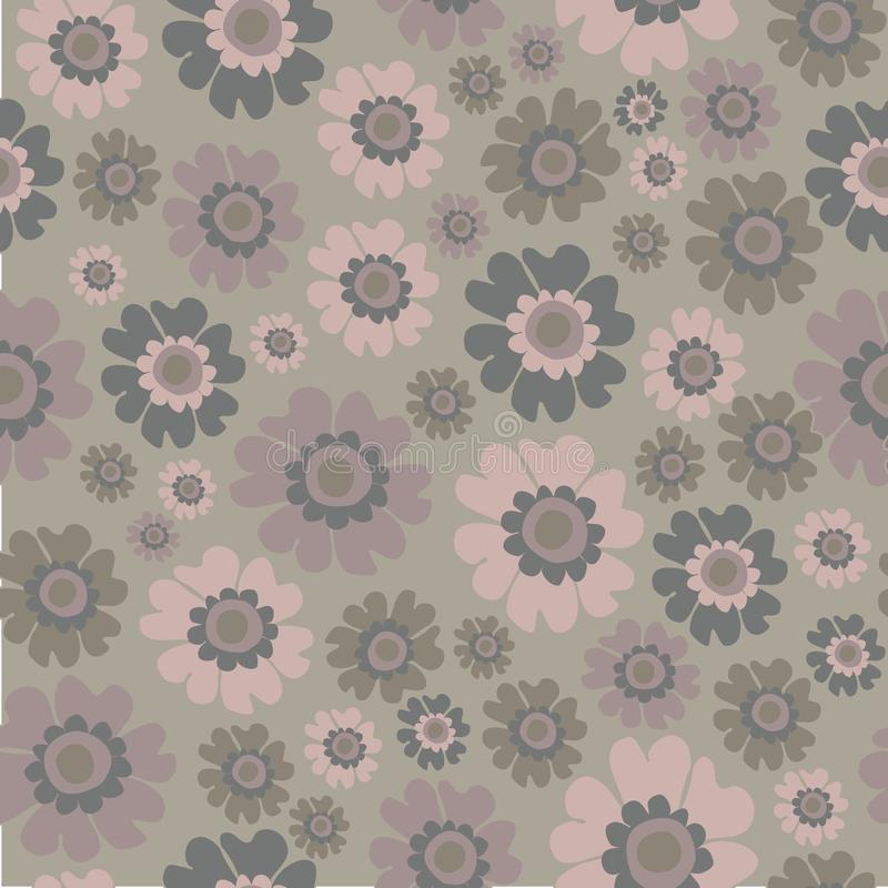 Boho Chic Ditsy Floral Seamless Pattern, Neutrals flowers Surface Pattern Background Floral Repeat Pattern for textile design, fab. Ric printing, fashion vector illustration