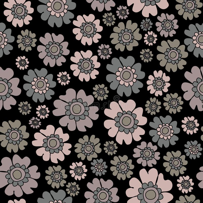 Boho Chic Ditsy Floral Seamless Pattern, Neutrals flowers Surface Pattern Background Floral Repeat Pattern for textile design, fab. Ric printing, fashion royalty free illustration