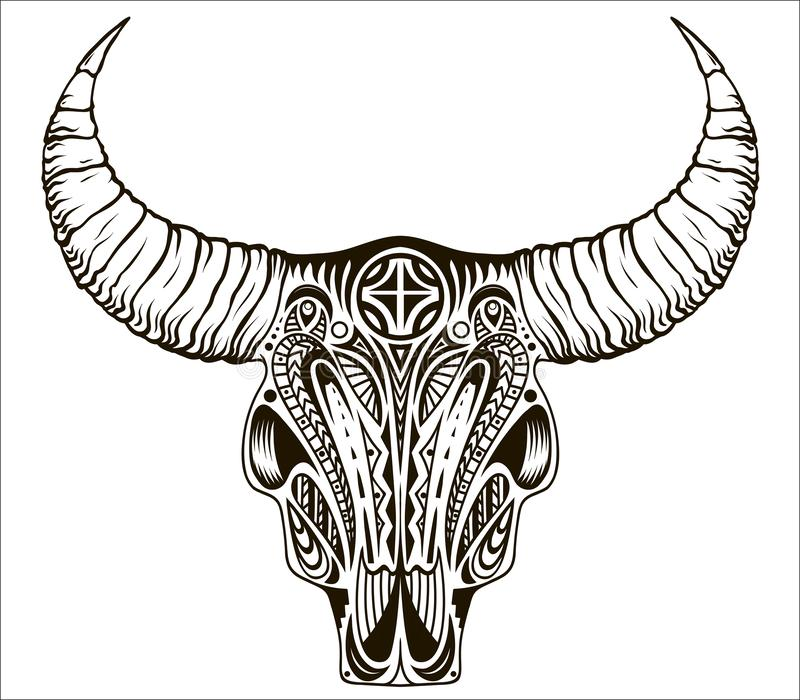 Boho chic, ethnic, native american or mexican bull skull with feathers on horns. royalty free illustration