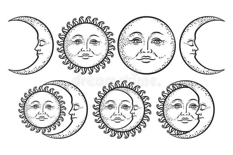 Boho chic flash tattoo design hand drawn art sun and crescent moon set. Antique style sticker design vector isolated on white back. Boho flash tattoo design hand