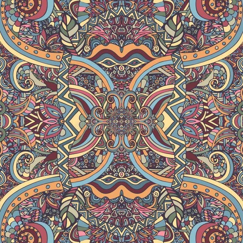 Boho chic, ornement ethnique de vintage Modèle naturel d'usine florale abstraite Éléments décoratifs multicolores Hippie, indien, illustration libre de droits
