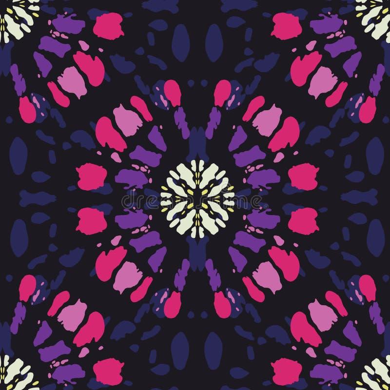 Boho Colorful Tie-Dye Shibori Mirrored Sunburst Mandala on Dark Indigo Striped Background Vector Seamless Pattern royalty free illustration