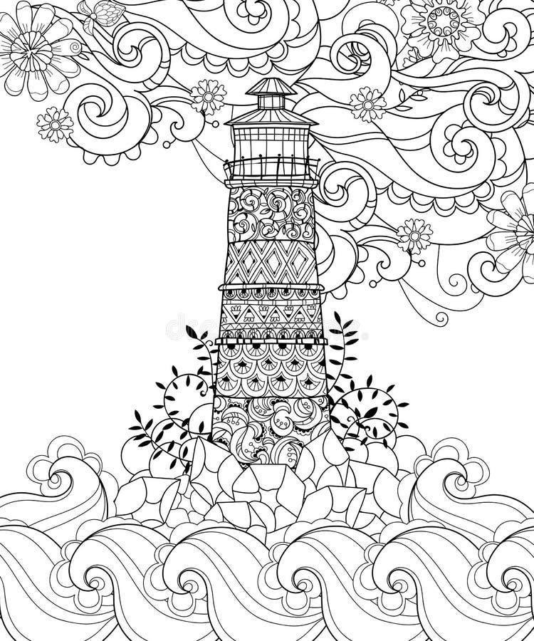 Boho disegnato a mano del faro del profilo di scarabocchio illustrazione vettoriale