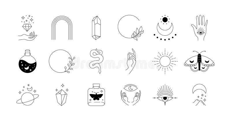 Boho Doodle Mystic Set Magic Simple Hand Drawn Logo Icons With Snake Crystal Eye Sun Moon Abstract Vector Illustration Stock Vector Illustration Of Moon Flat 193983079