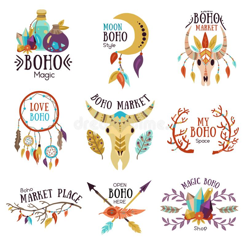 Boho Emblems Set. Boho magic symbols emblems collection for market place with moon dream catcher buffalo head isolated vector illustration vector illustration