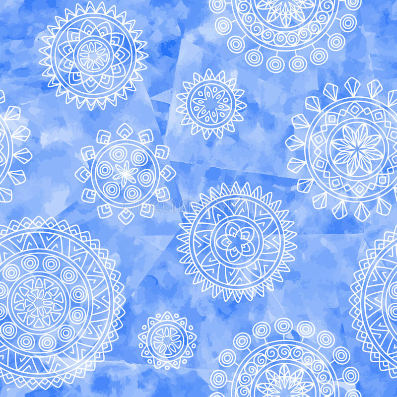 Boho ethnic seamless pattern with tribal elements. Hand drawn geometric mandalas on blue watercolor background. stock illustration
