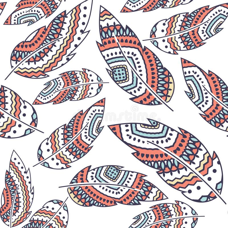 Boho Feather vector seamless repeat pattern, ethnic tribal ornament, detailed illustration royalty free illustration