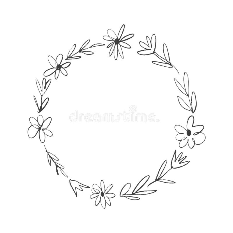 Boho floral frame, wreath, text template, circle flowers. Decor element vector illustration