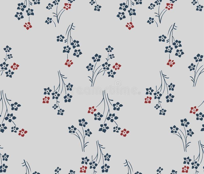 Boho floral japonês Art Seamless Pattern ilustração stock
