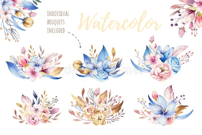 Boho flower set. Colorful floral collection with leaves and flowers, drawing watercolor. Spring or summer bouquet design royalty free illustration
