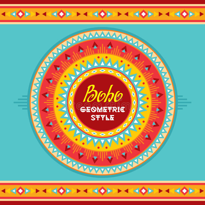 Boho geometric style circle badge. Ethnic abstract background. Tribal vector pattern. Boho fashion style. vector illustration