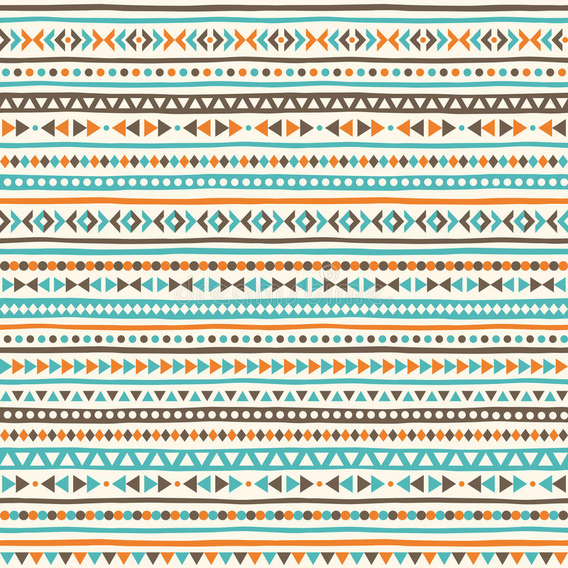 Boho geometrical seamless vector pattern. Ethnic or tribal background with tiny triangles, uneven stripes and dots. Striped boho texture royalty free illustration