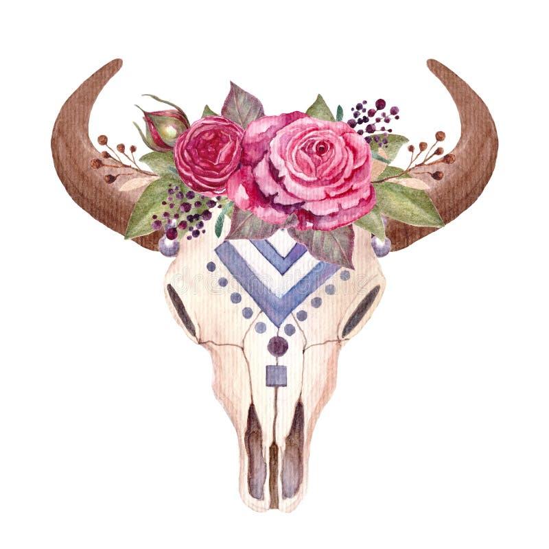 Free Boho Illustration, Animal Skull With Flowers, Cow, Bull. Stock Image - 146219291