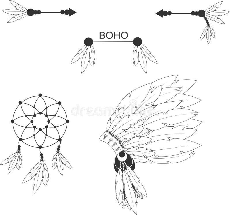 Boho Injuns element royaltyfri foto