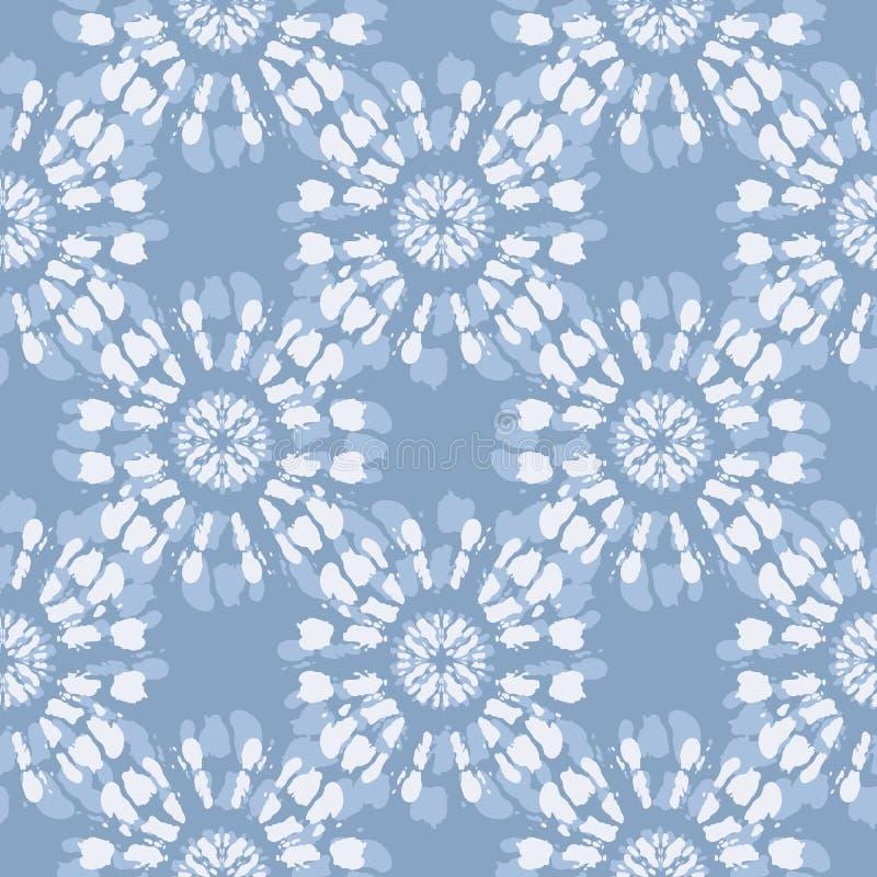 Boho Jean Blue Tie-Dye Shibori Mirrored monocromático Mandala Background Vetora Seamless Pattern Sunburst ilustração do vetor