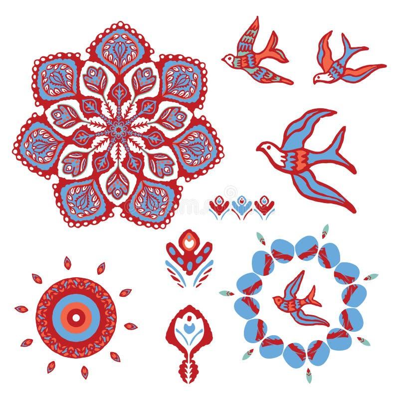 Boho-Mandala mit den Vögeln, die Vektor-Element-Satz fliegen stock abbildung
