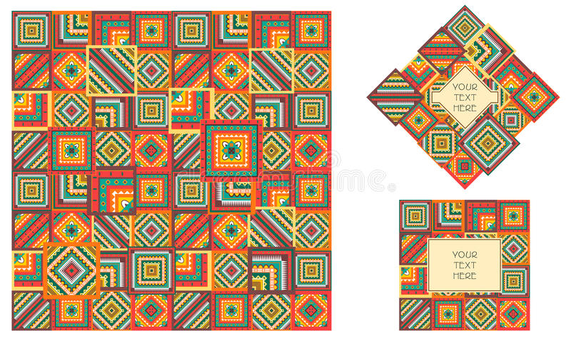 Boho oder Stammes- Artfleckenmuster Geometrischer bunter Druck für Gewebe Nahtloses Muster Vektor Logodesign mit Hintergrund stock abbildung