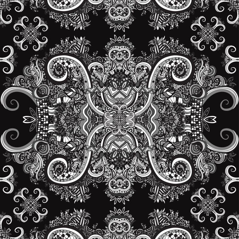 Boho ornament, tekstura monochrom Etniczny czarny i biały ornament Abstrakcjonistycznej kwiecistej rośliny naturalny Bezszwowy wz ilustracja wektor