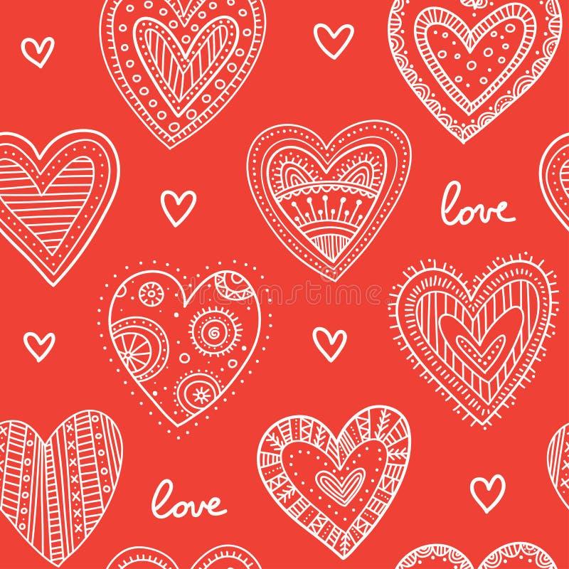 Boho ornamental hearts seamless pattern red royalty free illustration