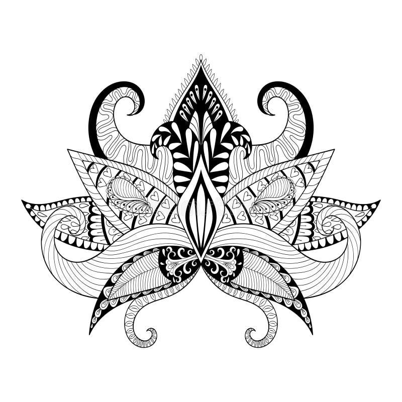 boho ornamental lotus flower blackwork tattoo design stock vector illustration of drawing. Black Bedroom Furniture Sets. Home Design Ideas