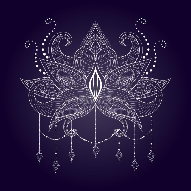 boho ornamental white lotus flower blackwork tattoo design stock vector image 79036908. Black Bedroom Furniture Sets. Home Design Ideas
