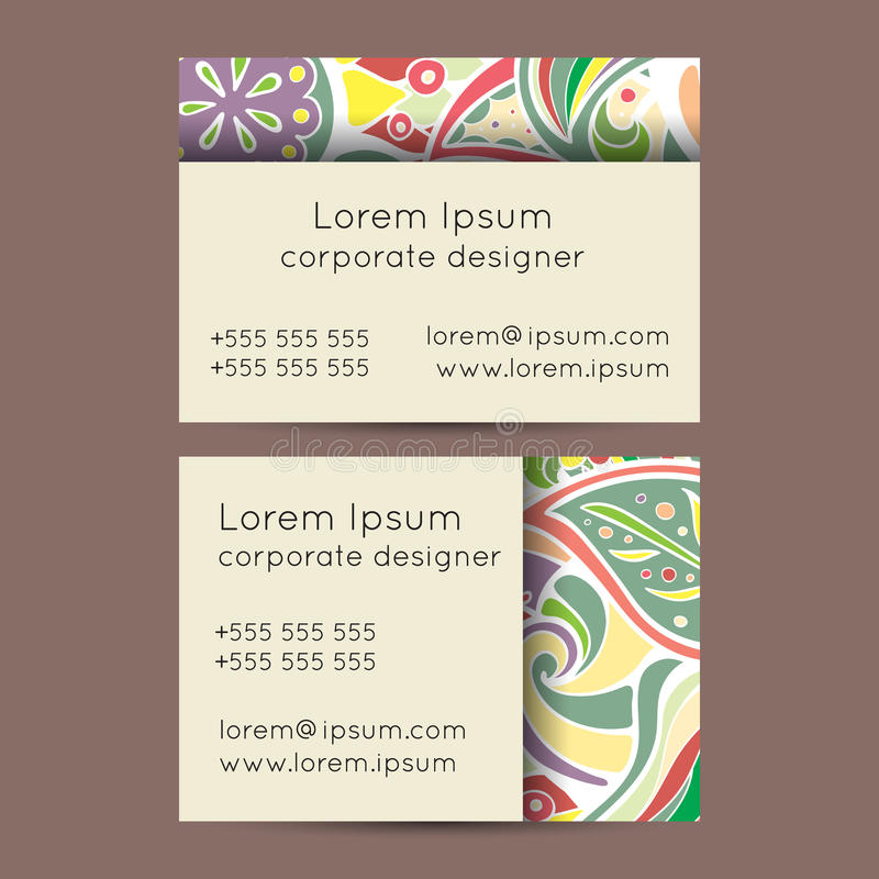 Boho Paisley Floral Business Cards Templates Stock Illustration ...