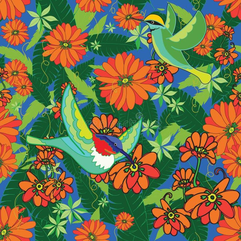 Boho Paradise med fåglar vektor illustrationer