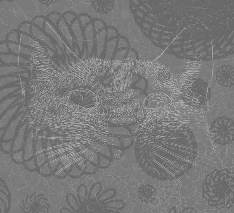 Boho planlade katten vektor illustrationer