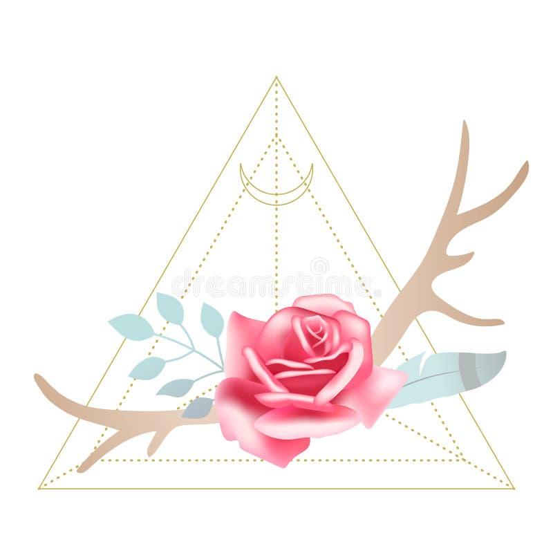 Boho projektował pięknej menchii róży z jelenimi poroże, piórkiem i liśćmi, Święty geometrii księżyc trójbok na tle royalty ilustracja